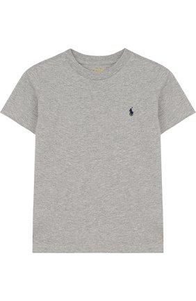 Детская хлопковая футболка POLO RALPH LAUREN серого цвета, арт. 322674984 | Фото 1