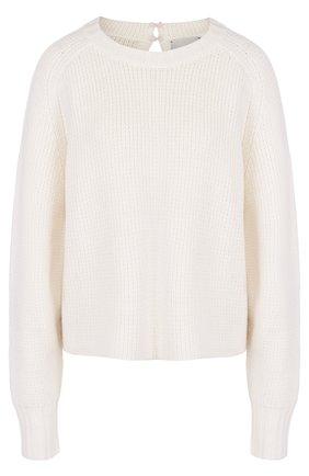 Кашемировый пуловер фактурной вязки с круглым вырезом Le Kasha серый   Фото №1