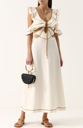 Льняное платье-миди с оборками Zimmermann кремовое   Фото №1