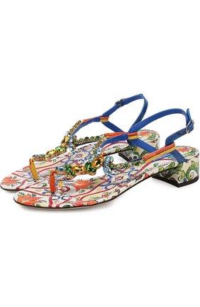 Кожаные сандалии Infradito с принтом | Фото №1