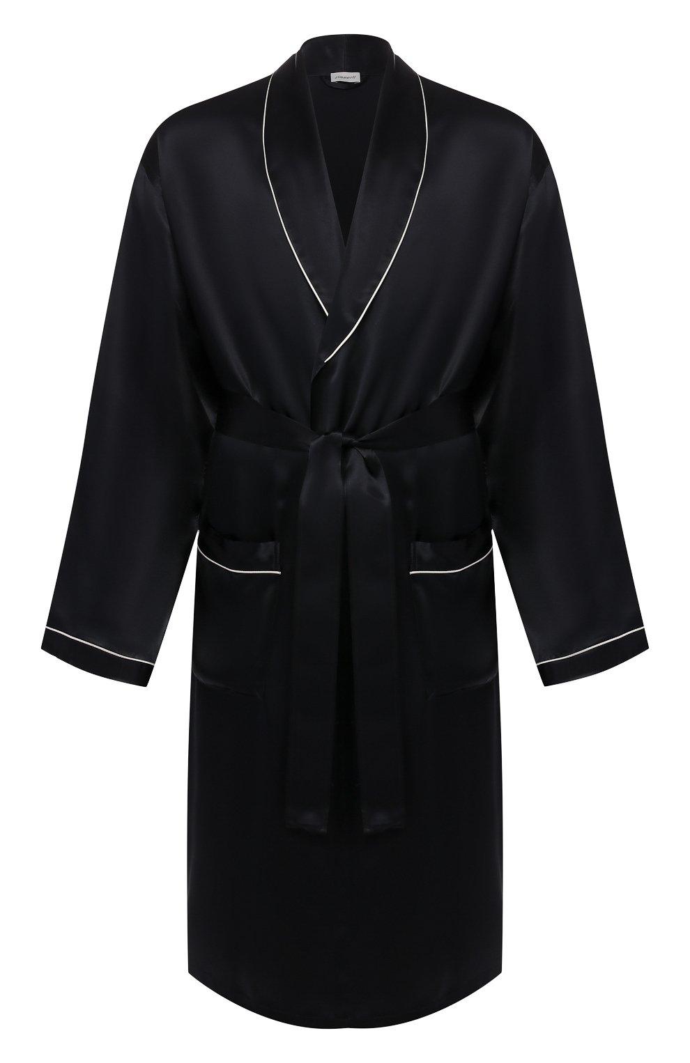 Мужской шелковый халат ZIMMERLI темно-синего цвета, арт. ZN-37   Фото 1 (Материал внешний: Шелк; Рукава: Длинные; Кросс-КТ: домашняя одежда; Длина (верхняя одежда): Длинные; Статус проверки: Проверена категория)