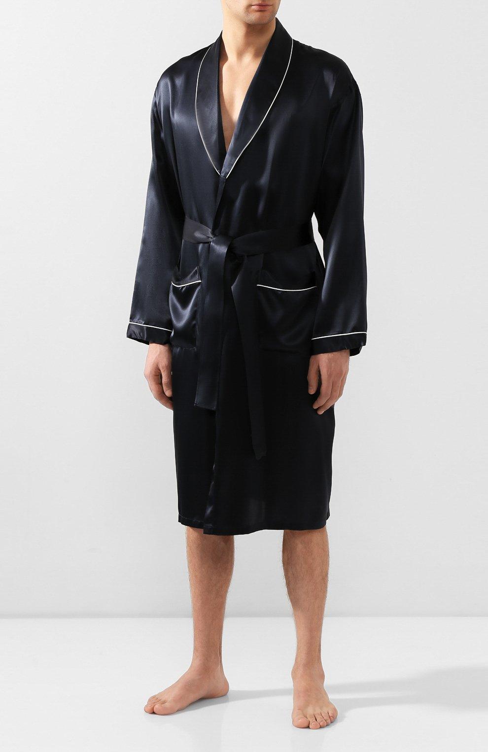 Мужской шелковый халат ZIMMERLI темно-синего цвета, арт. ZN-37   Фото 2 (Материал внешний: Шелк; Рукава: Длинные; Кросс-КТ: домашняя одежда; Длина (верхняя одежда): Длинные; Статус проверки: Проверена категория)