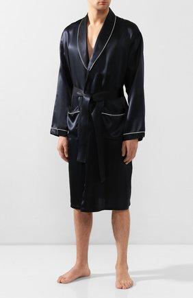 Мужской шелковый халат ZIMMERLI темно-синего цвета, арт. ZN-37 | Фото 2