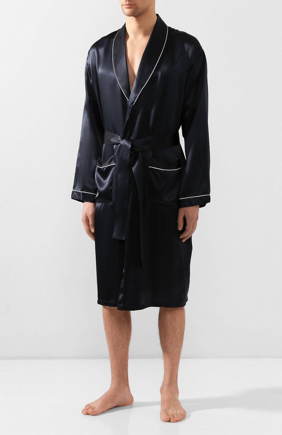 Мужской шелковый халат ZIMMERLI темно-синего цвета, арт. ZN-37   Фото 3 (Материал внешний: Шелк; Рукава: Длинные; Кросс-КТ: домашняя одежда; Длина (верхняя одежда): Длинные; Статус проверки: Проверена категория)