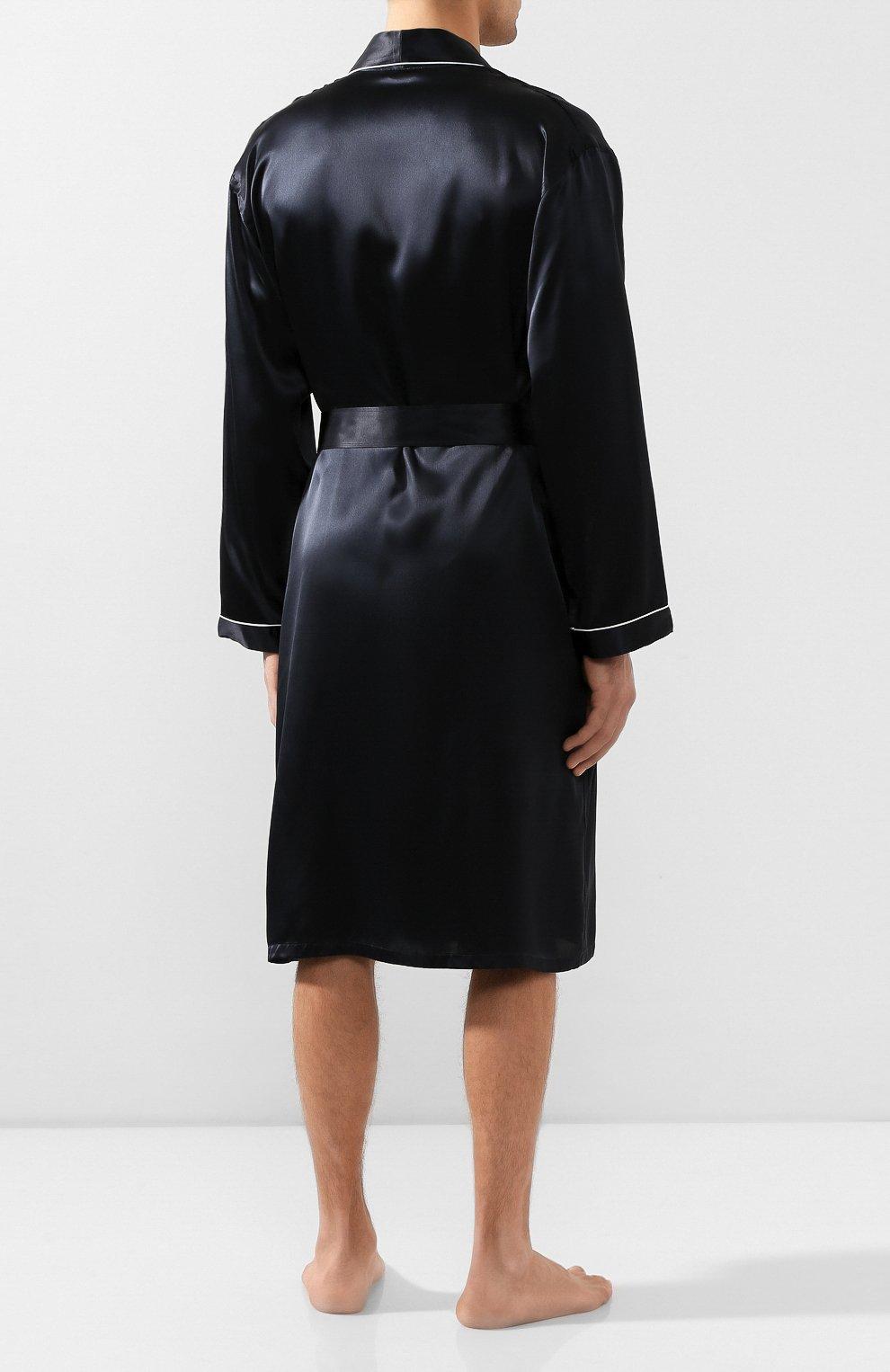 Мужской шелковый халат ZIMMERLI темно-синего цвета, арт. ZN-37   Фото 4 (Материал внешний: Шелк; Рукава: Длинные; Кросс-КТ: домашняя одежда; Длина (верхняя одежда): Длинные; Статус проверки: Проверена категория)