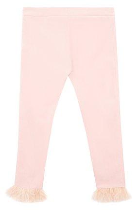 Детские укороченные брюки из хлопка с фактурной отделкой Quis Quis розового цвета | Фото №1
