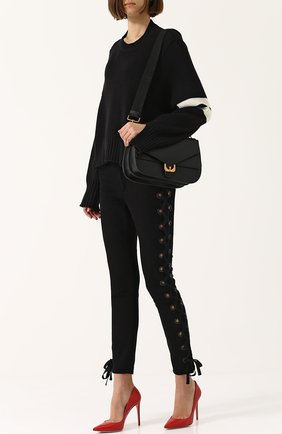 Укороченный пуловер свободного кроя с круглым вырезом MRZ черный | Фото №1
