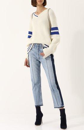 Пуловер свободного кроя с V-образным вырезом MRZ белый | Фото №1