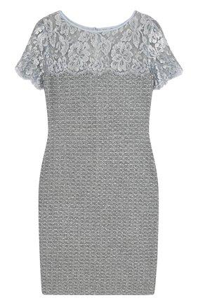 Приталенное твидовое мини-платье с кружевной вставкой | Фото №1