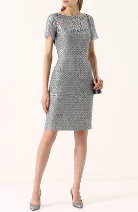 Женское приталенное твидовое мини-платье с кружевной вставкой ST. JOHN серебряного цвета, арт. K12P002 | Фото 2