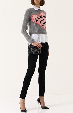 Шерстяной пуловер с хлопковыми вставками Alice + Olivia серый   Фото №1