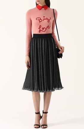 Плиссированная юбка-миди с широким поясом Alice + Olivia черная   Фото №1