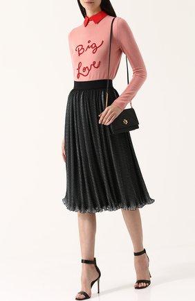 Кашемировый пуловер с надписью и отложным воротником Alice + Olivia розовый   Фото №1