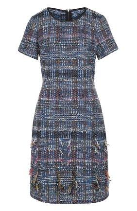 Приталенное твидовое платье с бахромой | Фото №1