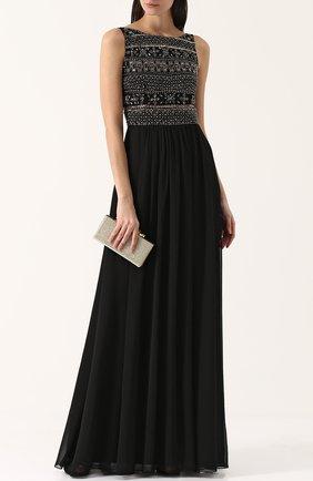 Приталенное платье-макси с декорированным лифом Basix Black Label черное | Фото №1