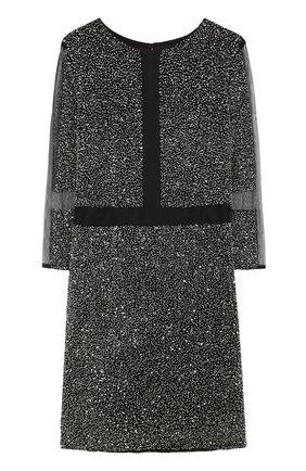 Приталенное мини-платье с укороченными рукавами | Фото №1