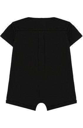 Детское хлопковый песочник с галстуком-бабочкой DOLCE & GABBANA черного цвета, арт. L1J0H5/G7H0M | Фото 2