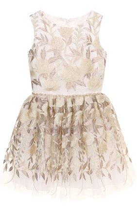 Детское мини-платье с металлизированной вышивкой и стразами на поясе David Charles белого цвета | Фото №1