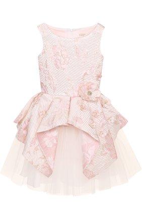 Мини-платье с асимметричной баской и цветочным декором | Фото №1