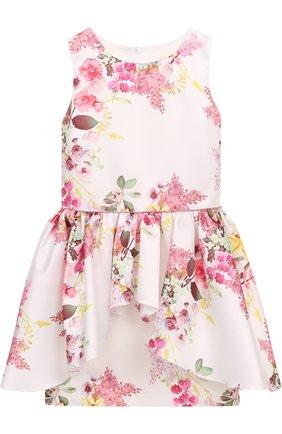 Мини-платье с удлиненной баской и стразами на поясе   Фото №1