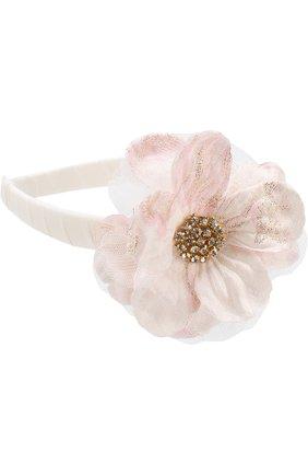 Ободок с цветочным декором и стразами David Charles розового цвета | Фото №1