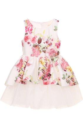 Детское многослойное платье с принтом и цветочным декором David Charles белого цвета | Фото №1