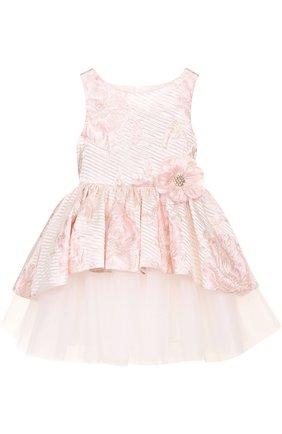 Многослойное платье с металлизированной отделкой и цветочным декором   Фото №1