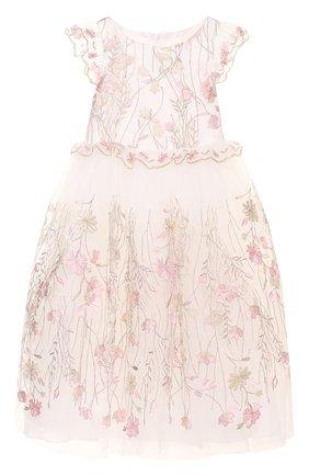 Детское многослойное платье с вышивкой и оборками David Charles розового цвета | Фото №1