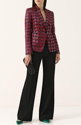 Однотонные расклешенные брюки со стрелками Diane Von Furstenberg черные   Фото №1