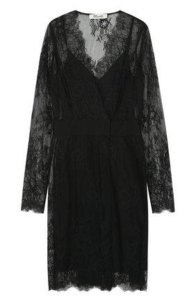Приталенное кружевное платье-миди Diane Von Furstenberg черное   Фото №1
