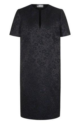 Платье-миди свободного кроя с металлизированной нитью   Фото №1