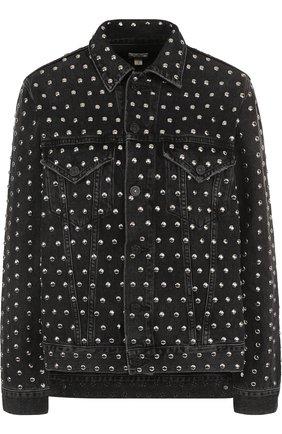 Джинсовая куртка с потертостями и металлическими заклепками | Фото №1
