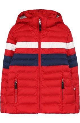 Утепленная куртка с капюшоном и контрастной отделкой | Фото №1