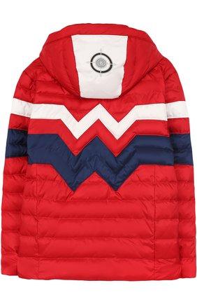 Утепленная куртка с капюшоном и контрастной отделкой Bogner Kids красного цвета | Фото №1