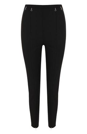 Укороченные однотонные брюки-скинни с завышенной талией | Фото №1