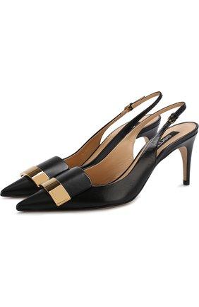Кожаные туфли с металлической отделкой | Фото №1