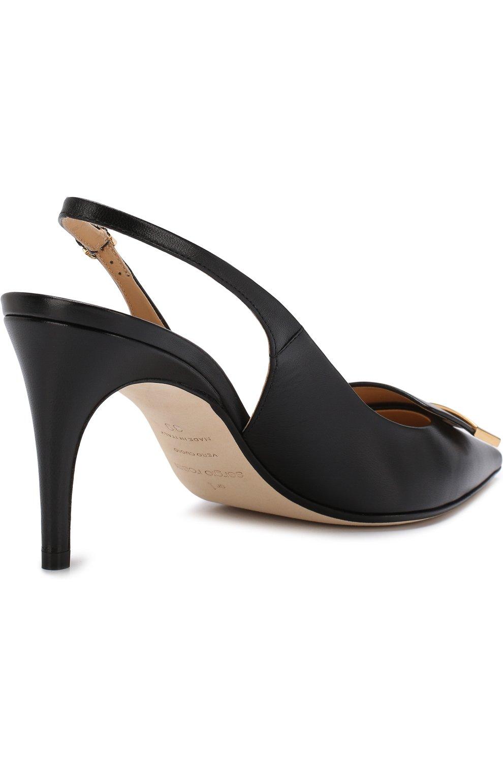 Кожаные туфли с металлической отделкой | Фото №4