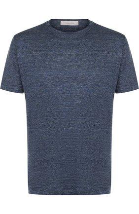 Льняная футболка с круглым вырезом Cortigiani синяя | Фото №1