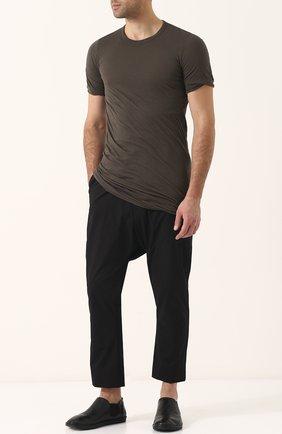 Удлиненная хлопковая футболка с круглым вырезом Rick Owens темно-серая | Фото №1