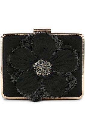 Сумка с цветочным декором на цепочке David Charles черного цвета | Фото №1