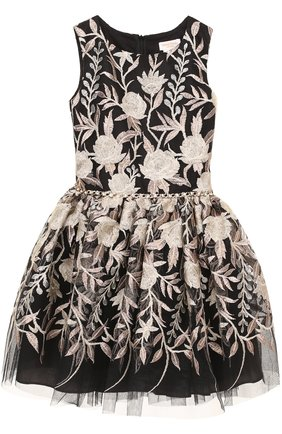 Мини-платье с металлизированной вышивкой и стразами на поясе | Фото №1