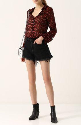 Женская блуза свободного кроя с принтом в виде сердец Alice + Olivia, цвет черный, арт. CC711B07017 в ЦУМ   Фото №1