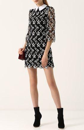 Мини-платье с укороченным рукавом и контрастным воротником Alice + Olivia черное   Фото №1