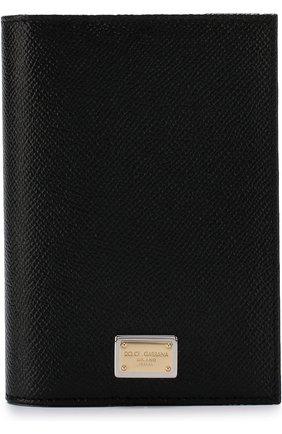 Женские кожаная обложка для паспорта DOLCE & GABBANA черного цвета, арт. BI2215/A1001 | Фото 1