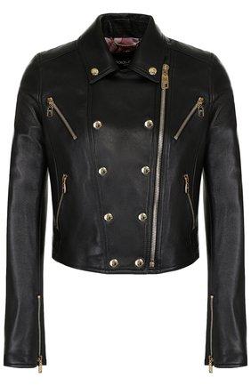 Женская укороченная кожаная куртка с косой молнией DOLCE & GABBANA черного цвета, арт. F9829L/FUL89 | Фото 1
