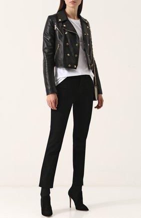 Женская укороченная кожаная куртка с косой молнией DOLCE & GABBANA черного цвета, арт. F9829L/FUL89 | Фото 2