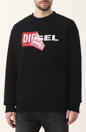 Хлопковый свитшот с отделкой Diesel черный | Фото №3