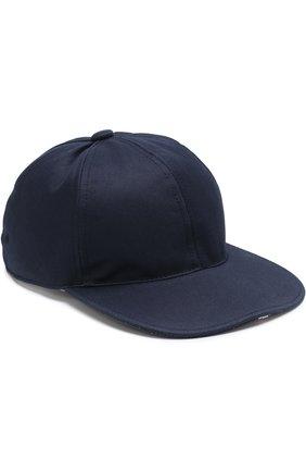 Хлопковая бейсболка Thom Browne темно-синего цвета | Фото №1