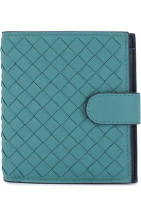 Кожаный кошелек с плетением intrecciato на кнопке | Фото №1