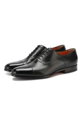 Мужские кожаные оксфорды SANTONI черного цвета, арт. MCKE14285JJ1I0BRN01 | Фото 1
